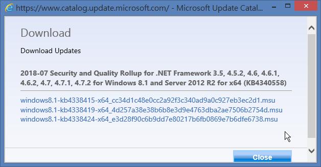 KB4340558 有三個檔案可下載
